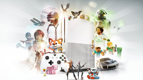 Various characters whose games are available on Xbox Game Pass, surrounding the Xbox Game Pass logo