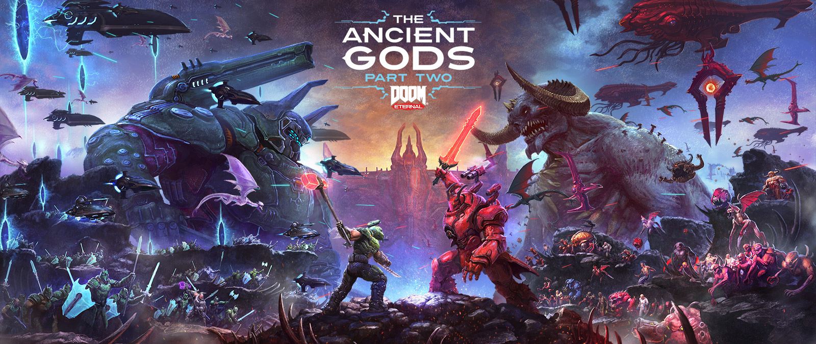 DOOM Eternal, The Ancient Gods Part Two, En episk kamp mellom Slayers og Demons på et steinete helvete.