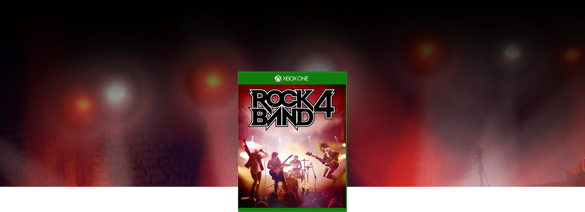 Rock Band 4 boxshot over a stage background