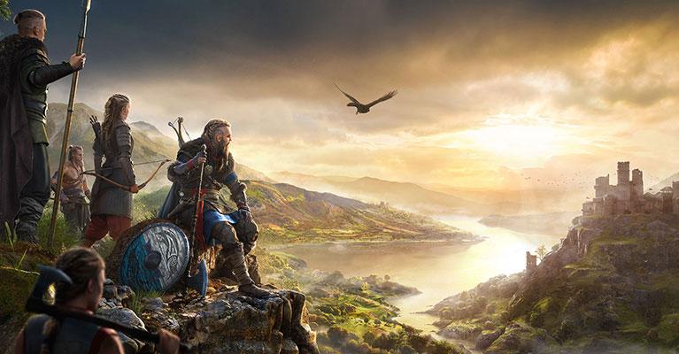 El legendario asaltante vikingo Eivor observa un hermoso paisaje compuesto por un sinuoso río, un distante castillo y un pueblo al pie de este. Su clan está detrás de él, con las armas listas.
