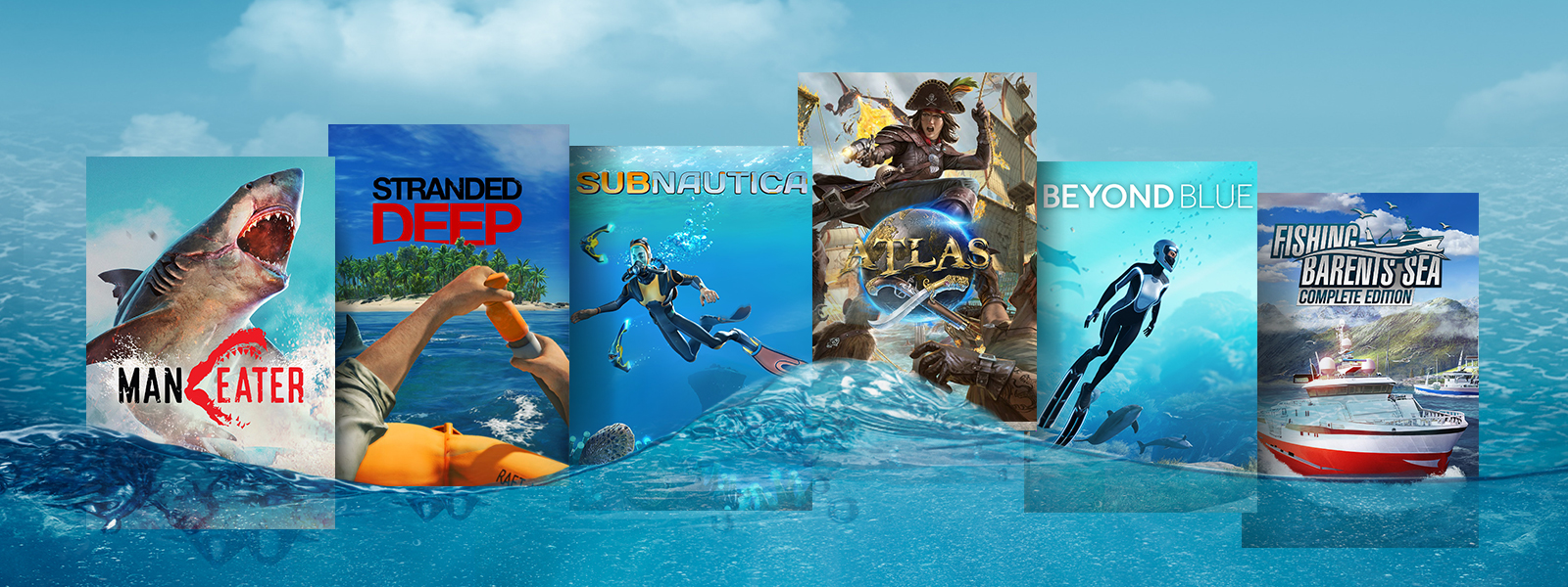 A collage of games floating on water that are part of the Deep Sea Discounts sale, including Subnautica, Atlas, and Beyond Blue.