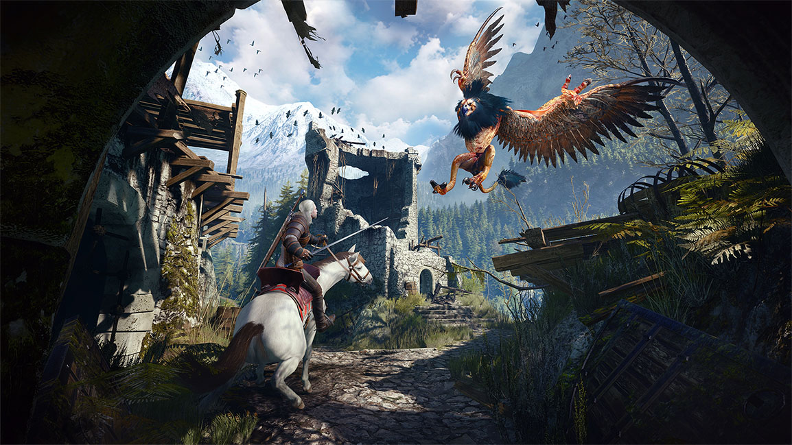 Geralt fighting a griffin on a horse