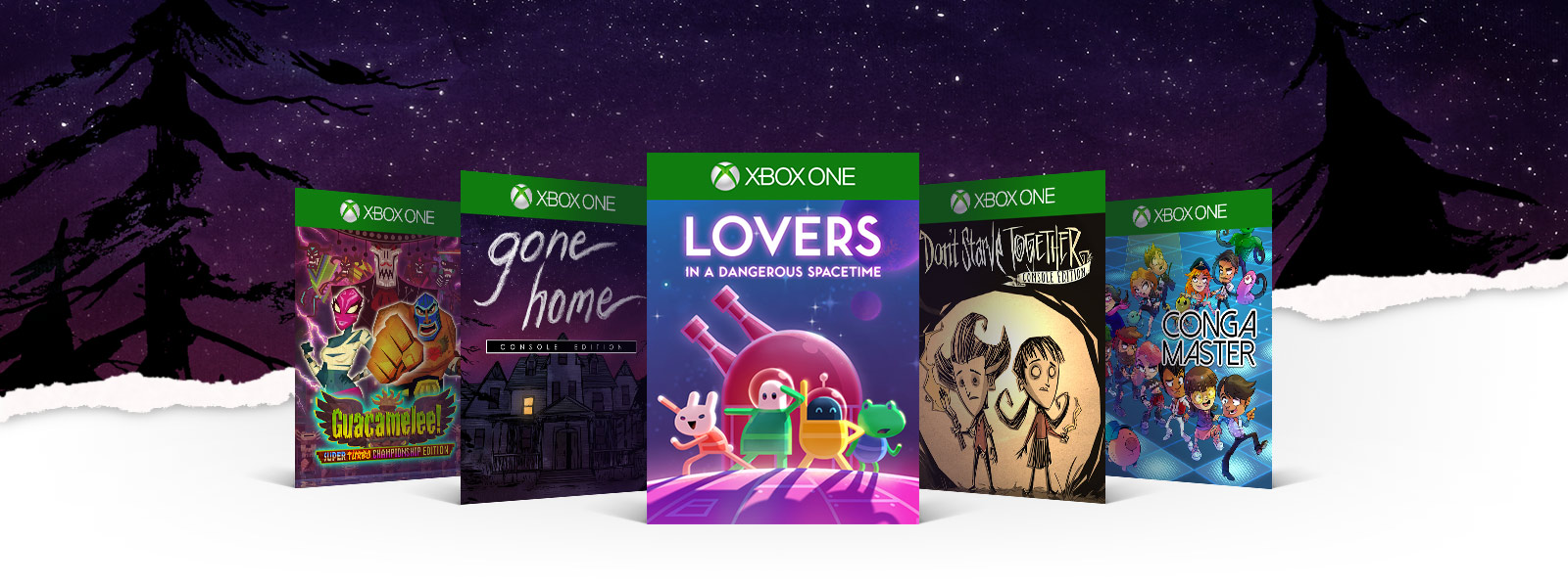 Xbox boxcshots of Guacamelee! Gone Home Lovers in a Dangerous Spacetime Don't Starve Together Conga Master