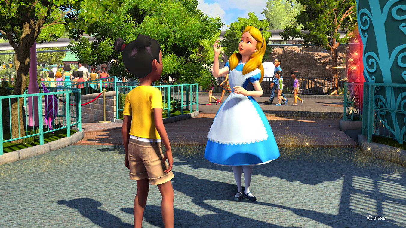 Alice talking to child