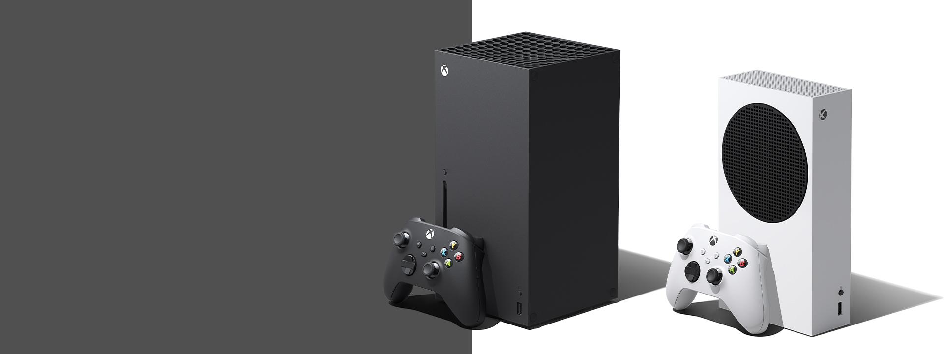 Console Xbox SeriesX e S su uno sfondo grigio e bianco