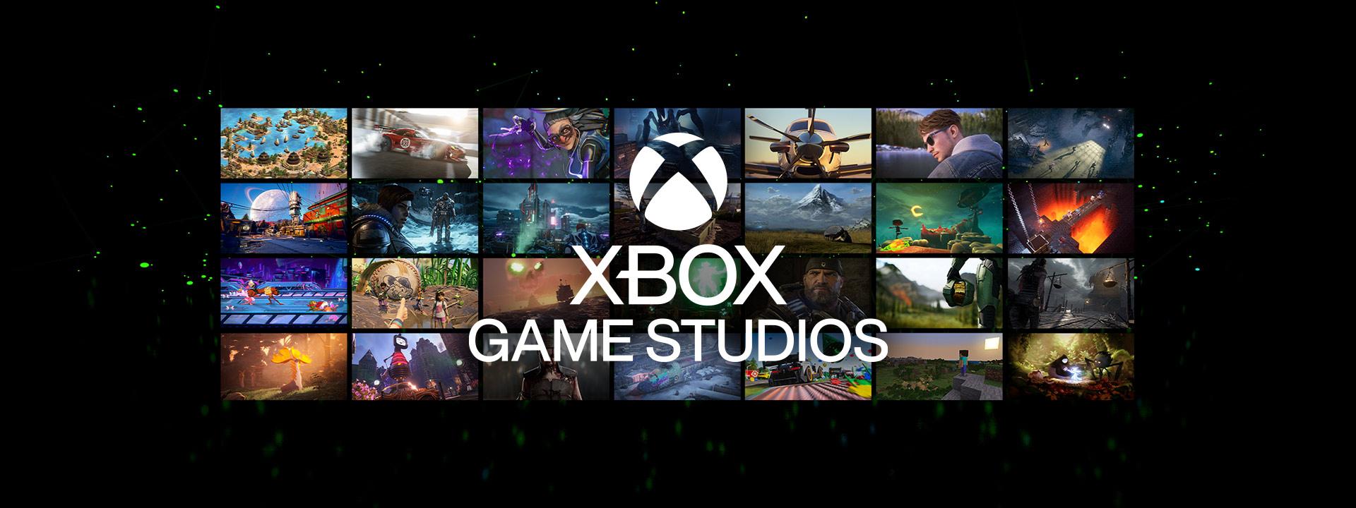 Logotipo de Xbox Games Studios sobre una matriz de capturas de pantalla de juegos