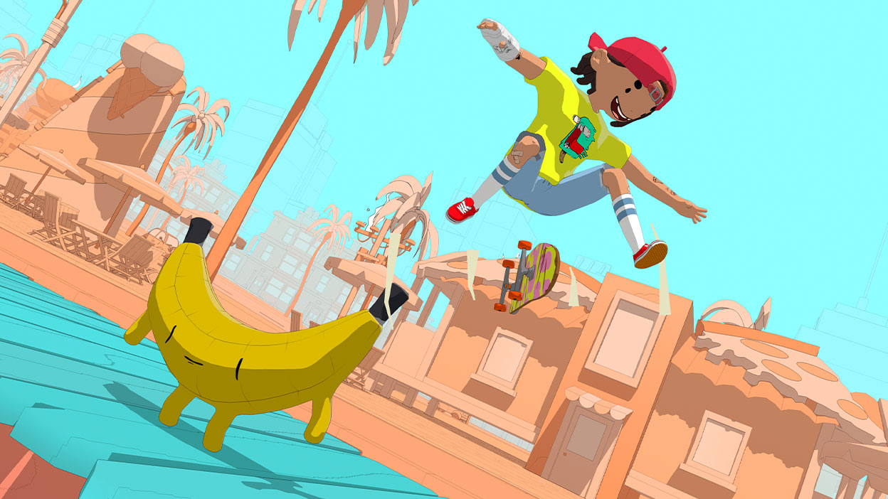 A character does a trick on their skateboard over a banana at the beach.