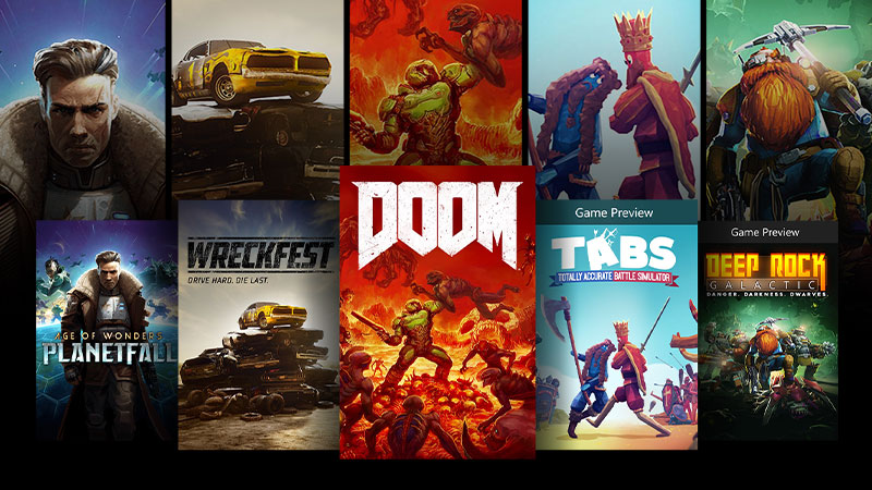 Key art from games including Age of Wonders: Planetfall, Wreckfest, and Doom.