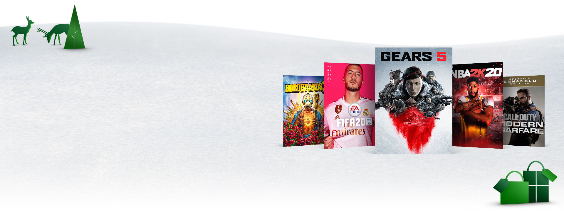 Box art for Xbox One games on sale, featured in a snowy scene. Gears 5, FIFA 20, NBA 2K20, Borderlands 3, Call of Duty: Modern Warfare