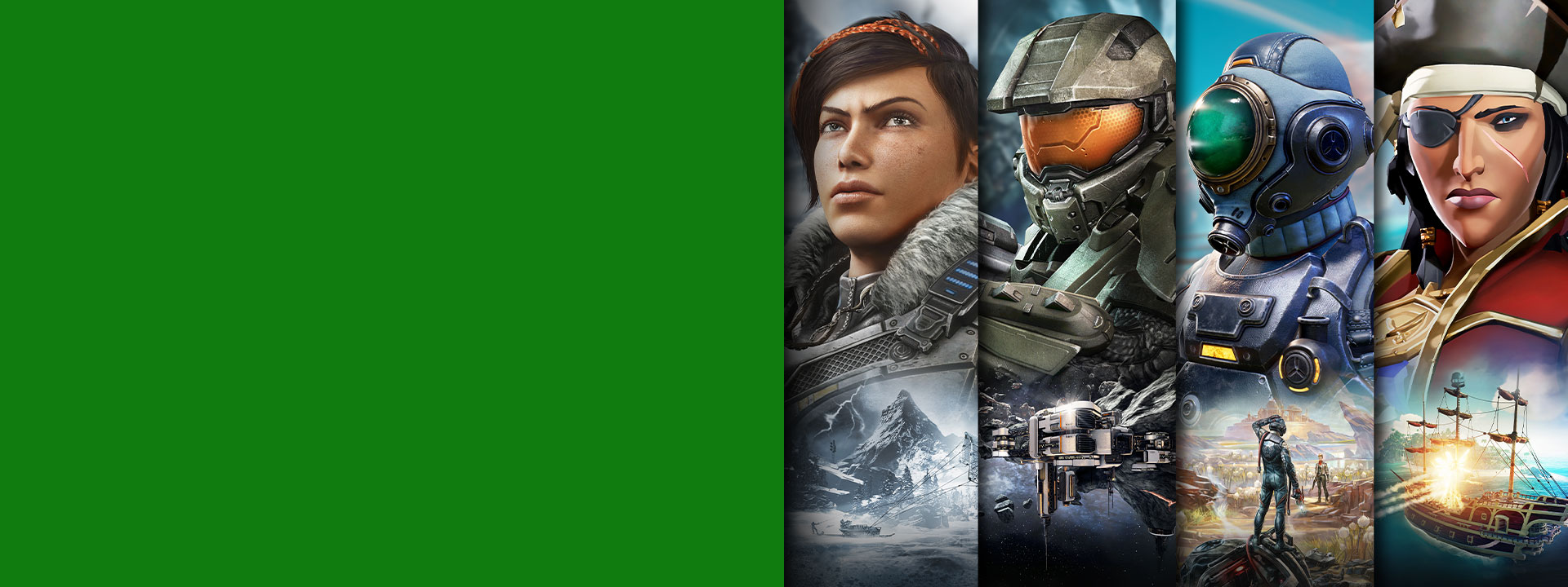 Subskrypcja Xbox Game Pass i postacie z gier Gears 5, Halo, The Outer Worlds i Sea of Thieves.