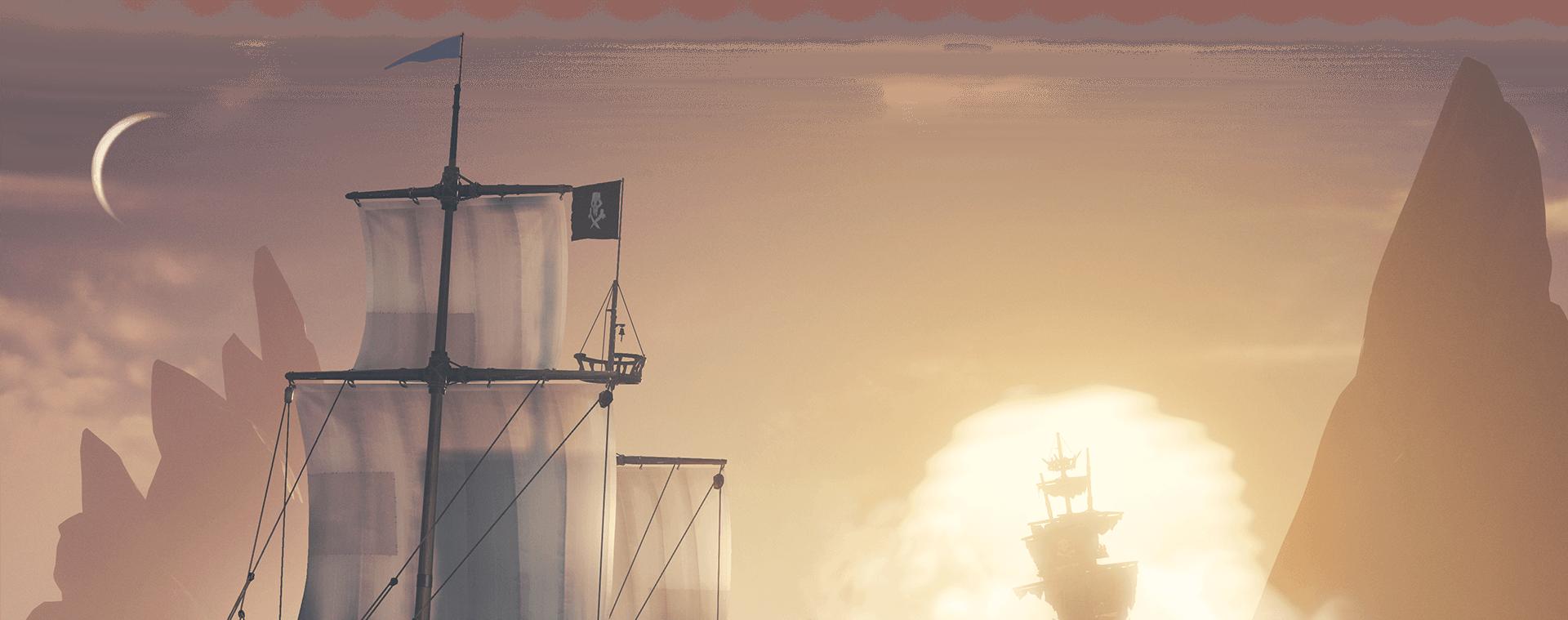 Widok z tyłu na dwa statki odpływające w dal
