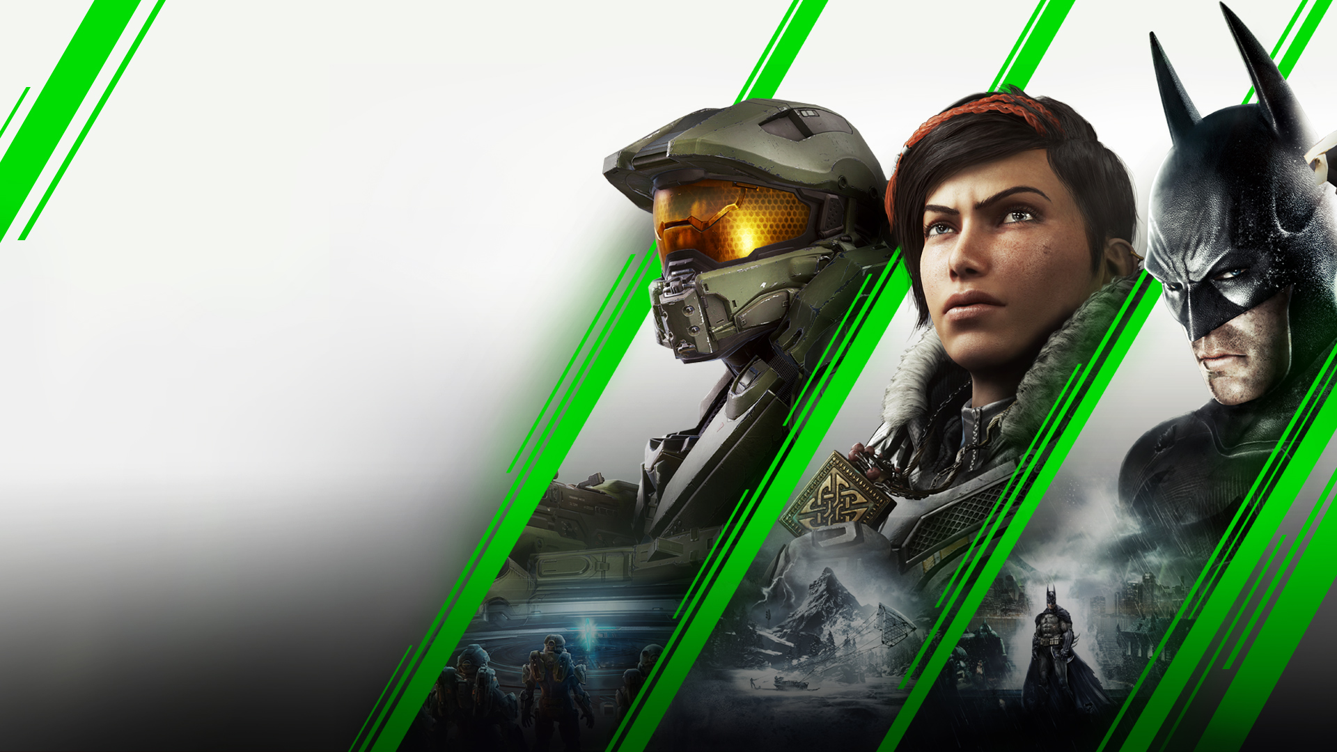 Stylized green diagonal lines separating Master Chief, Kait Diaz, and Batman.