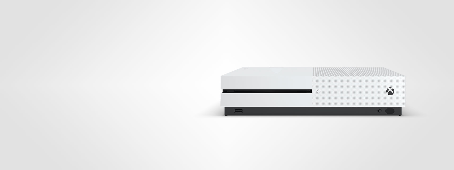 Vista frontal de la consola Xbox One S