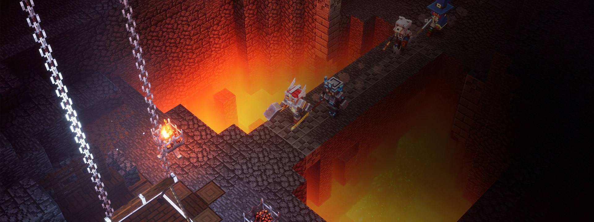 A group of characters crossing over lava deep in the dungeon.