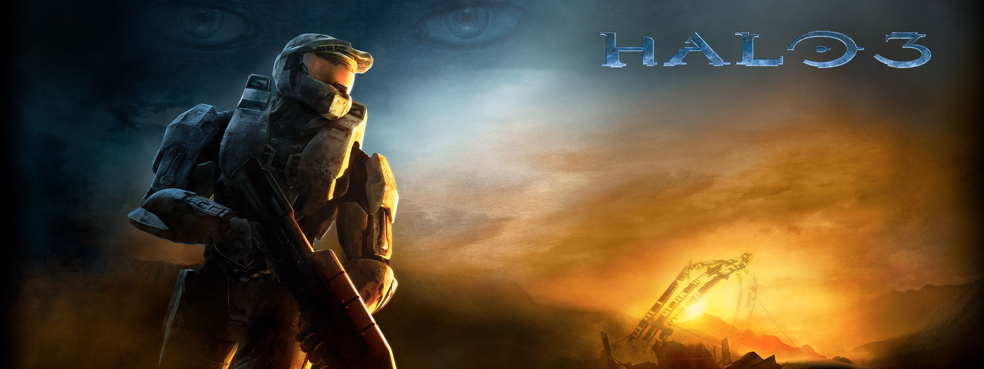 Halo 3, Master Chief looks away from the sunset-lit horizon, a pair of eyes is overlaid on the background
