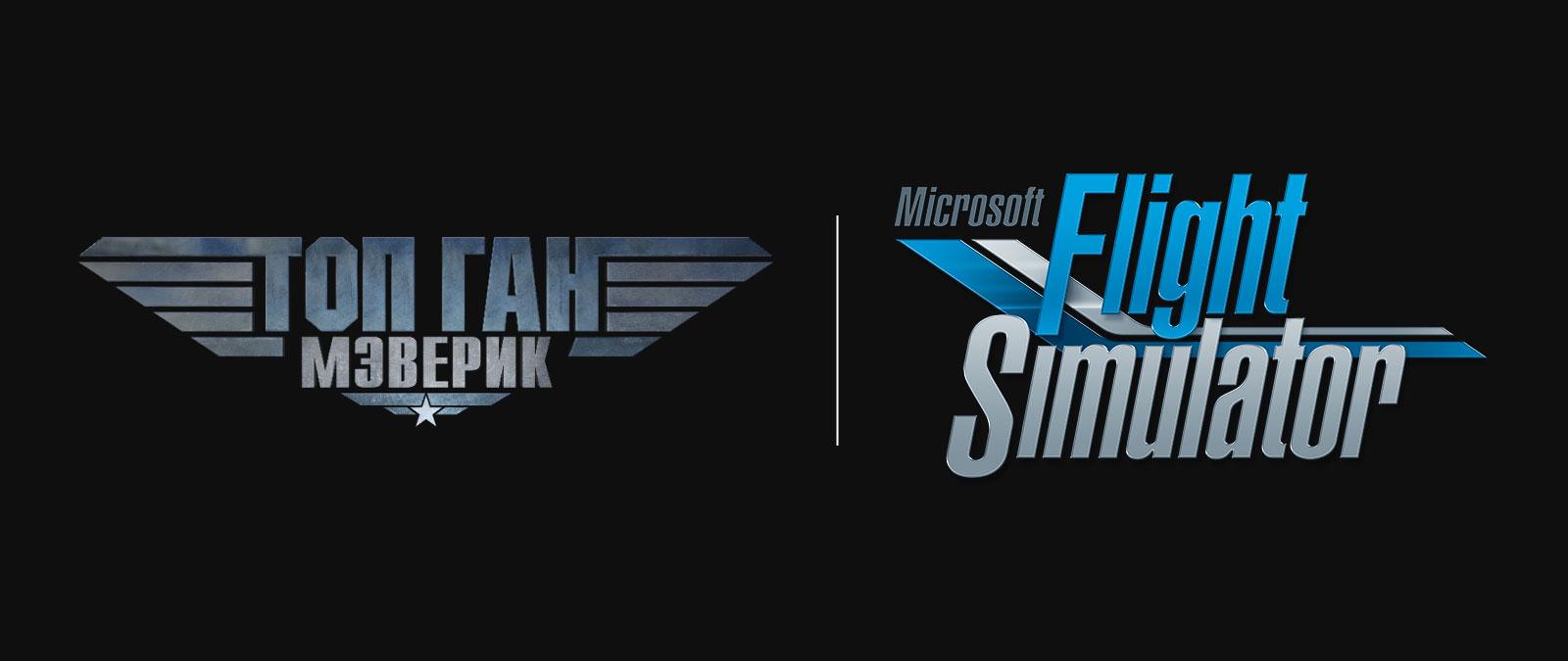 Логотип Microsoft Flight Simulator и логотип Top Gun