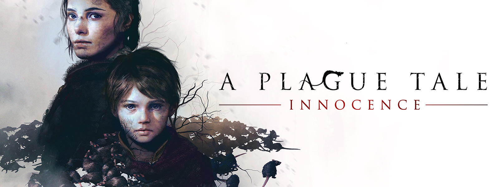 A Plague Tale: Innocence Amicia and a child stand in front of a swarm of rats.