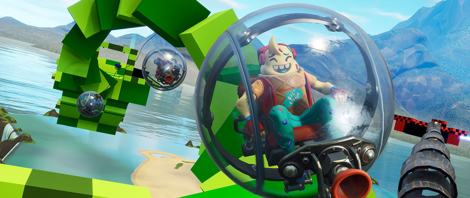 Characters in hamster balls over water.