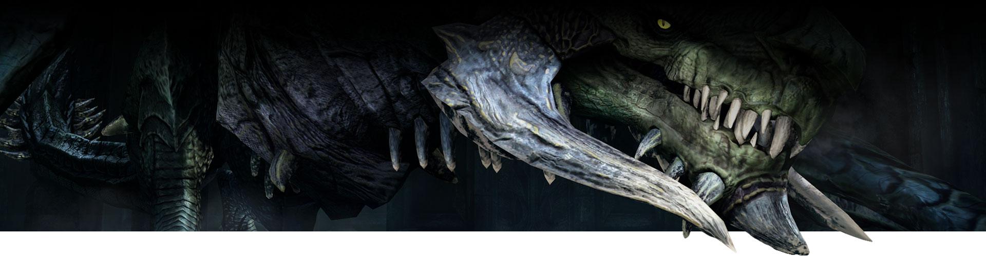 Vue rapprochée du visage d'un dragon qui s'agenouille