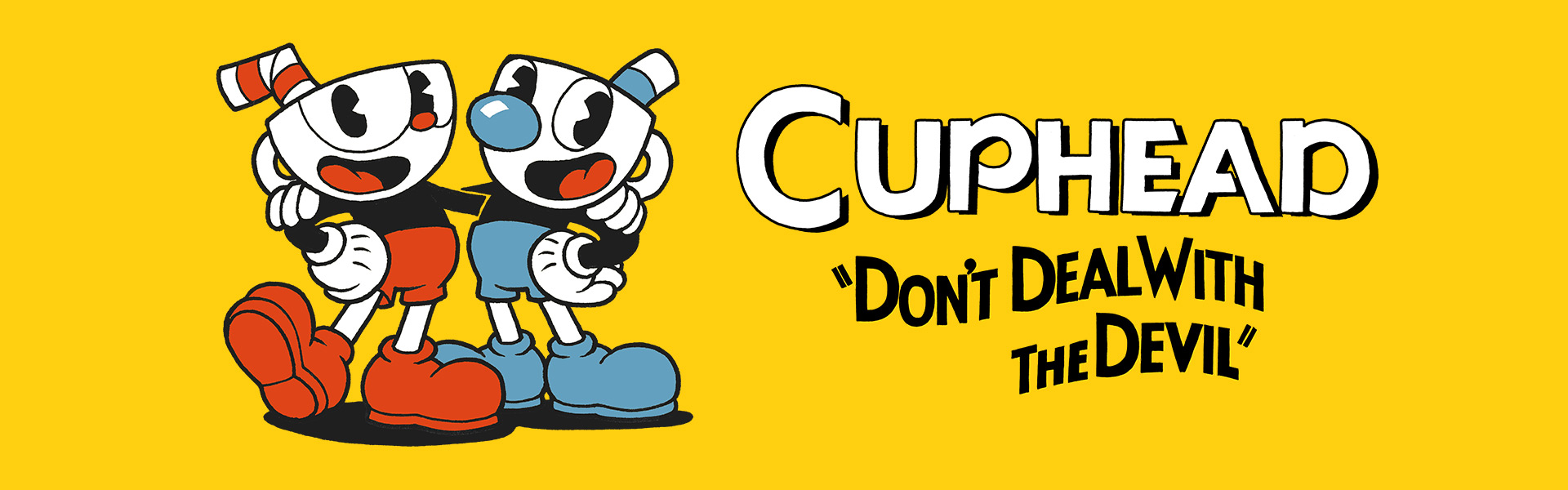 Cuphead, Don't Deal with the Devil, os personagens Cuphead, Mugman e Ms. Chalice posando