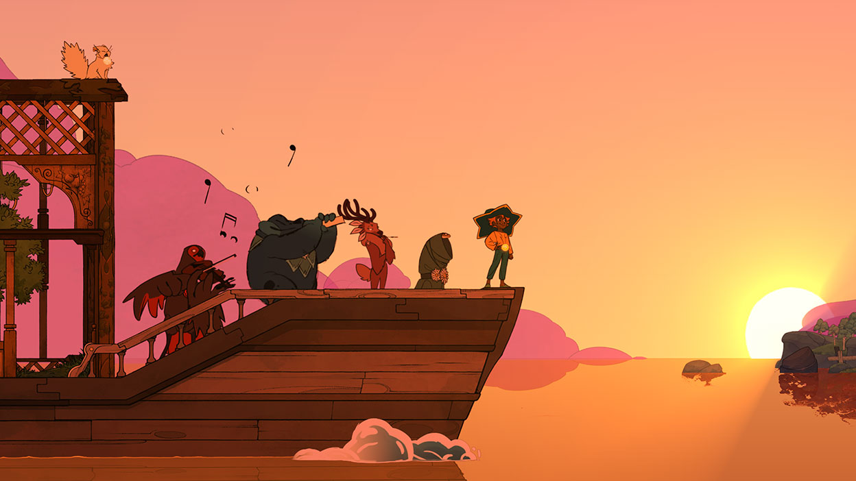 Five characters line up on the end of a boat during a sunset with two of the characters playing music