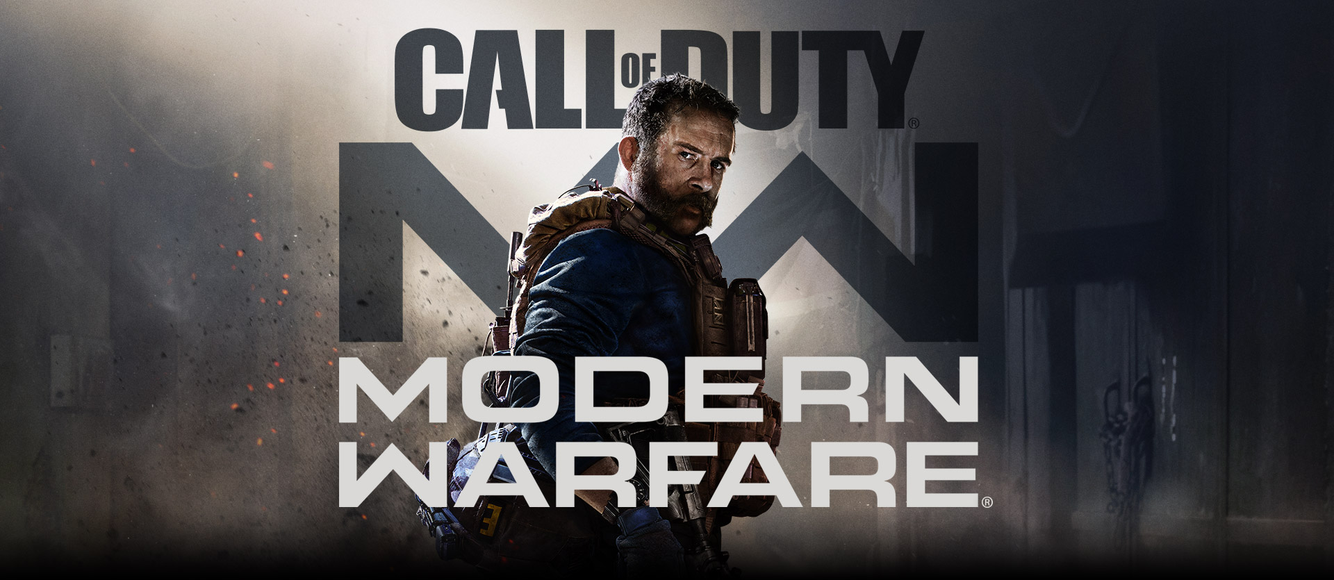 Call of Duty: Modern Warfare-Logo mit Charakter Captain Price in blau mit Militärweste