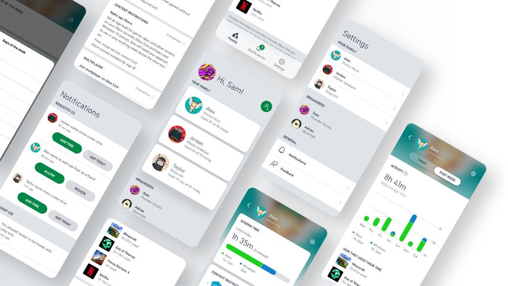 Verzameling van app-screenshots van instellingen voor ouderlijk toezicht en online veiligheid
