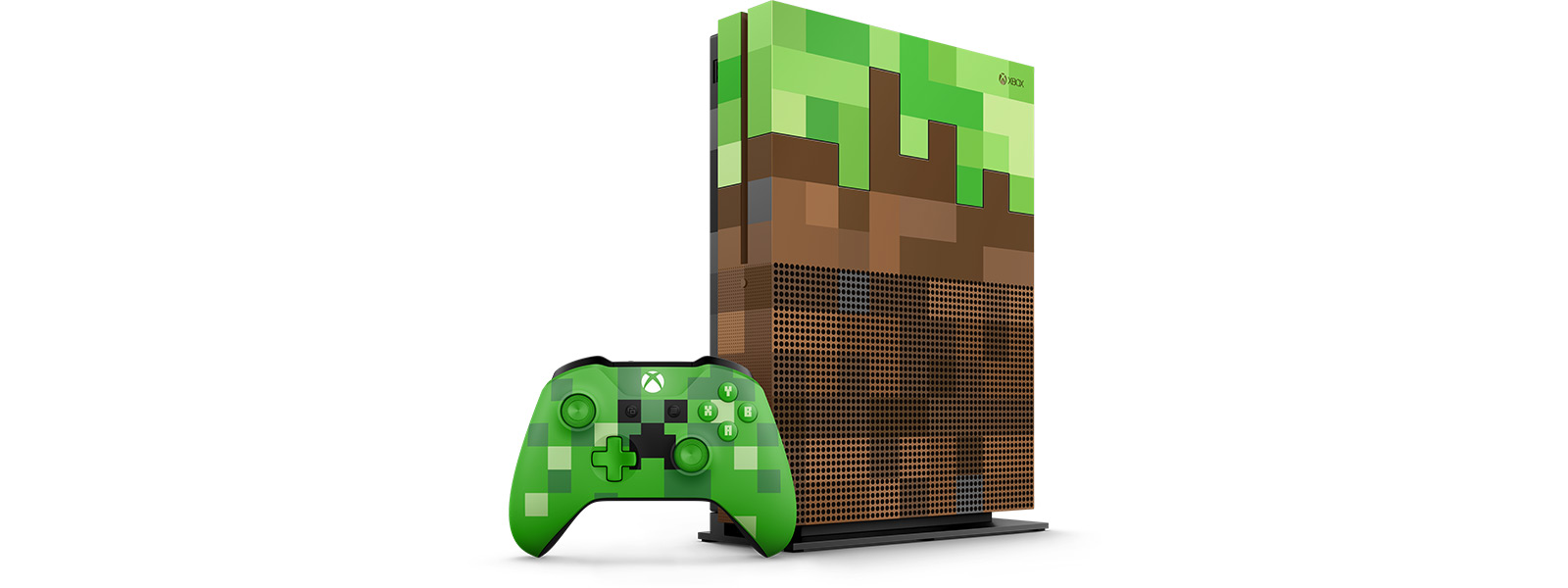 Xbox One S Minecraft Limited Edition Bundle orthographic view