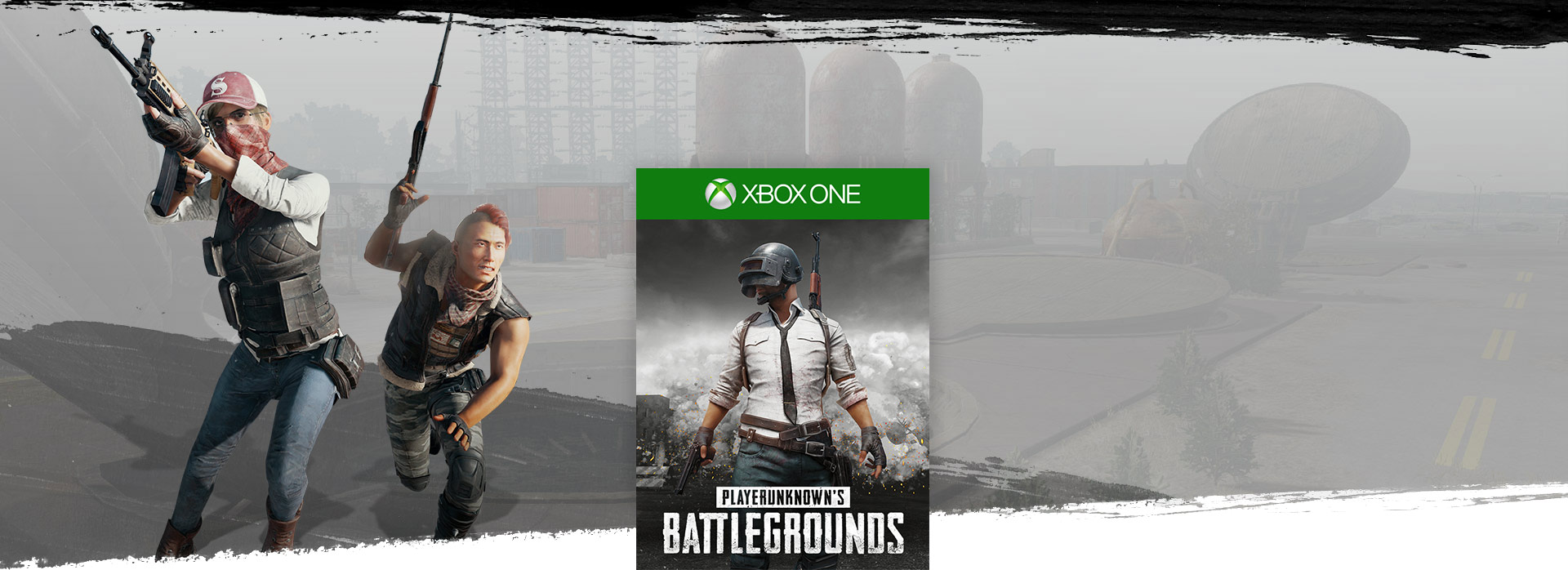 Playerunknowns Battlegrounds boxshot, with background image of two weapon wielding characters with military base in the background
