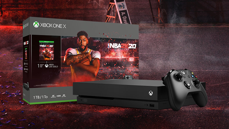 Detail view of NBA 2K20 Xbox one X bundle on a basketball court with purple confetti
