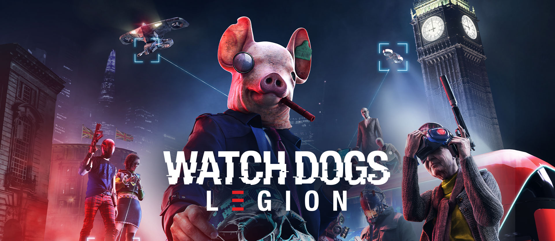 Watch Dogs Legion logo, person in a pig mask holding a skull, two drones, Big Ben, and several other characters with weapons