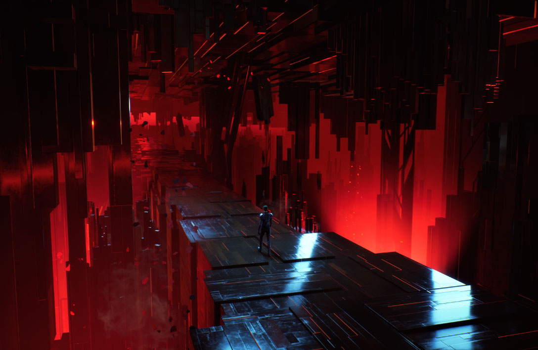 A lone figure walks down a bridge composed of metallic blocks lit by red lights.