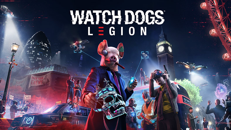 Watch Dogs Legion. Person in a pig mask holding a skull, two drones, Big Ben, and several other characters with weapons.