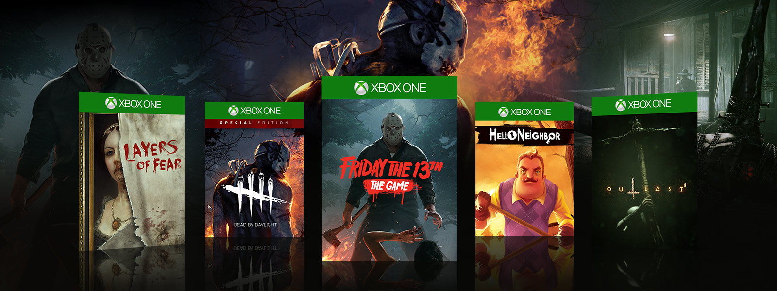 Layers of Fear Dead by Daylight Friday the 13th Helo Neighbor Outlast boxshots
