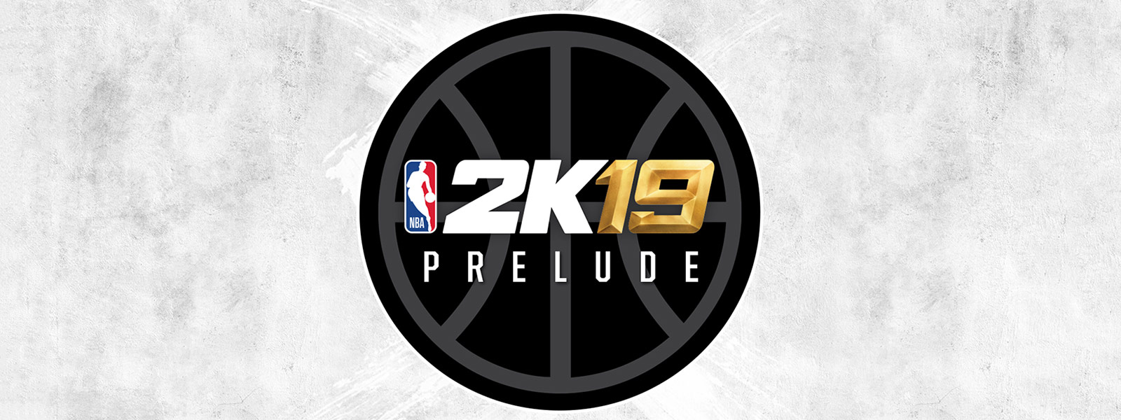 2K19 Prelude text in outline of basketball