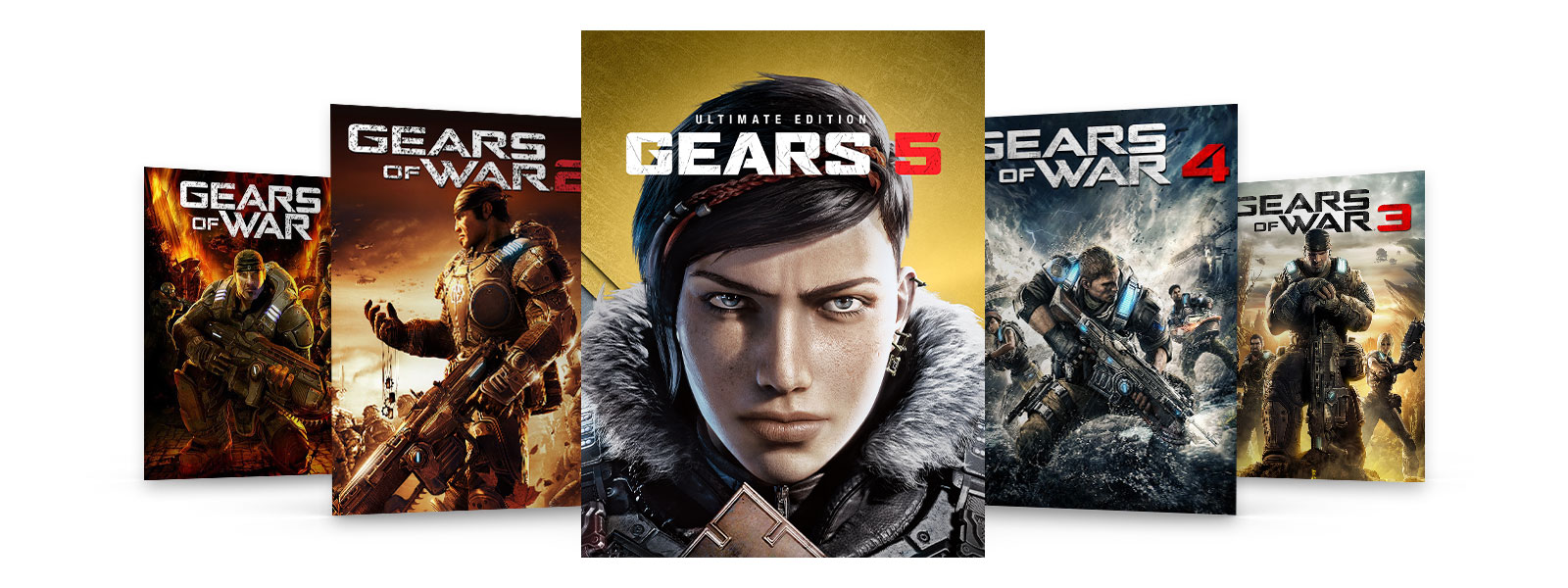 Box art of Gears of War Ultimate Edition and Gears 2, 3 and 4.