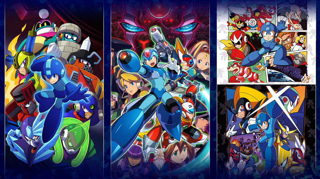 Collage of boxshots from multiple Mega Man games
