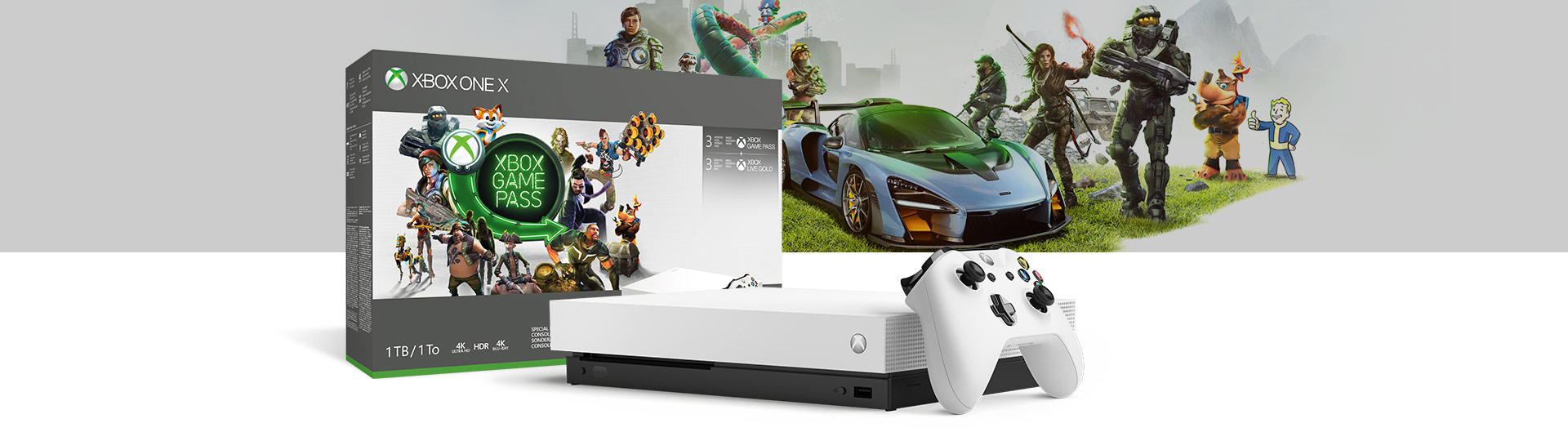 Front view of Xbox One X Robot White Special Edition Starter Bundle 1 terabyte with product box