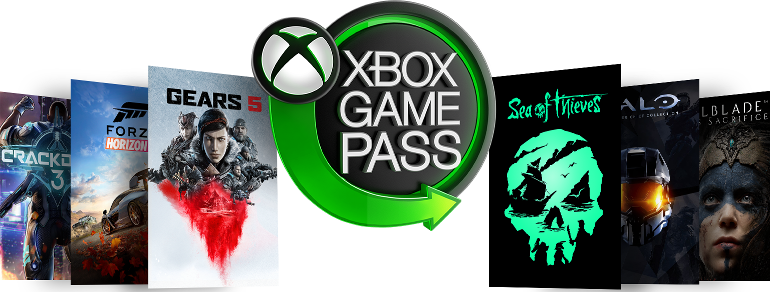Logotipo do Xbox Game Pass em neon cercado por arte de caixa do Forza Horizon 4, Crackdown 3, Gears 5, Sea of Thieves, Halo, e Hellblade: Senua's Sacrifice