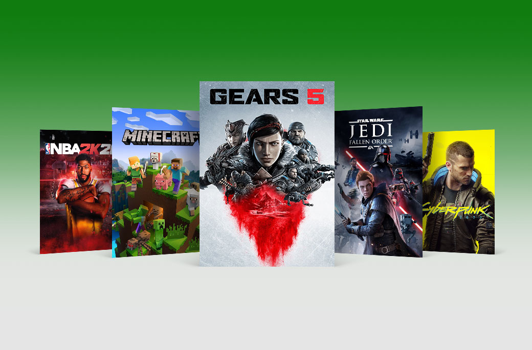 An array of game box art including NBA 2K20, Minecraft, Gears 5, Star Wars Jedi Fallen Order, and Cyberpunk 2077