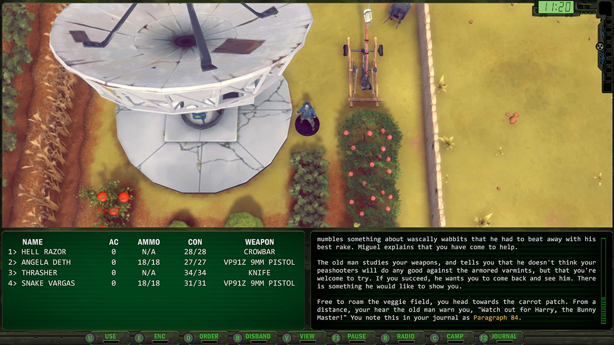 Screenshot of player statistics and story with a player character in a garden beside a satellite dish
