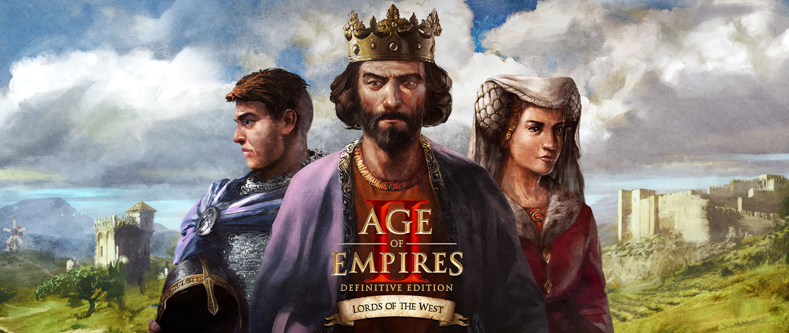 Age of Empires II: Definitive Edition. Lords of the West. Drie personages poseren.