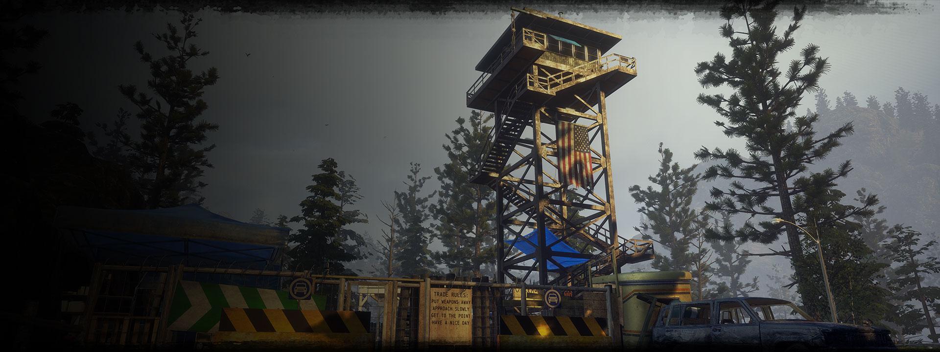 Εγκαταλειμμένο στρατόπεδο με φυλάκιο στο δάσος στο State of Decay 2: Juggernaut Edition