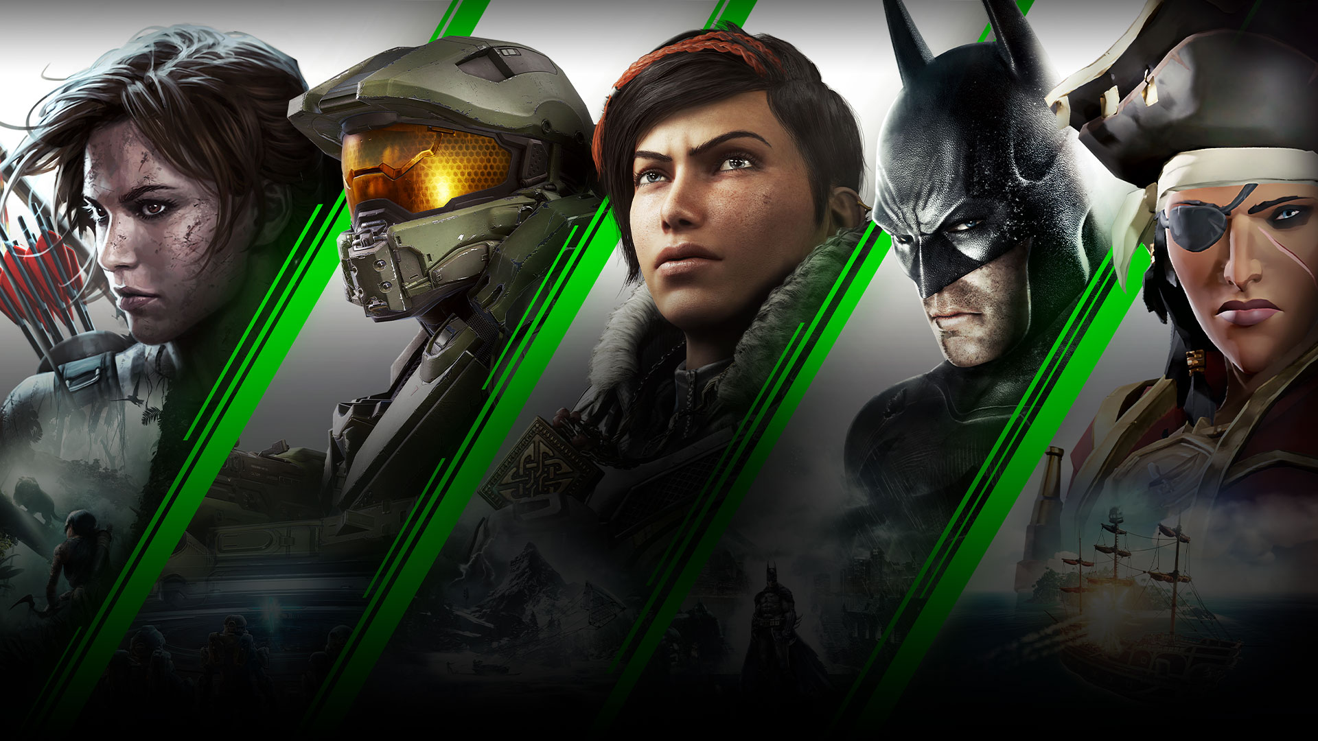 Five game characters snarling into in the distance behind an Xbox Game Pass logo
