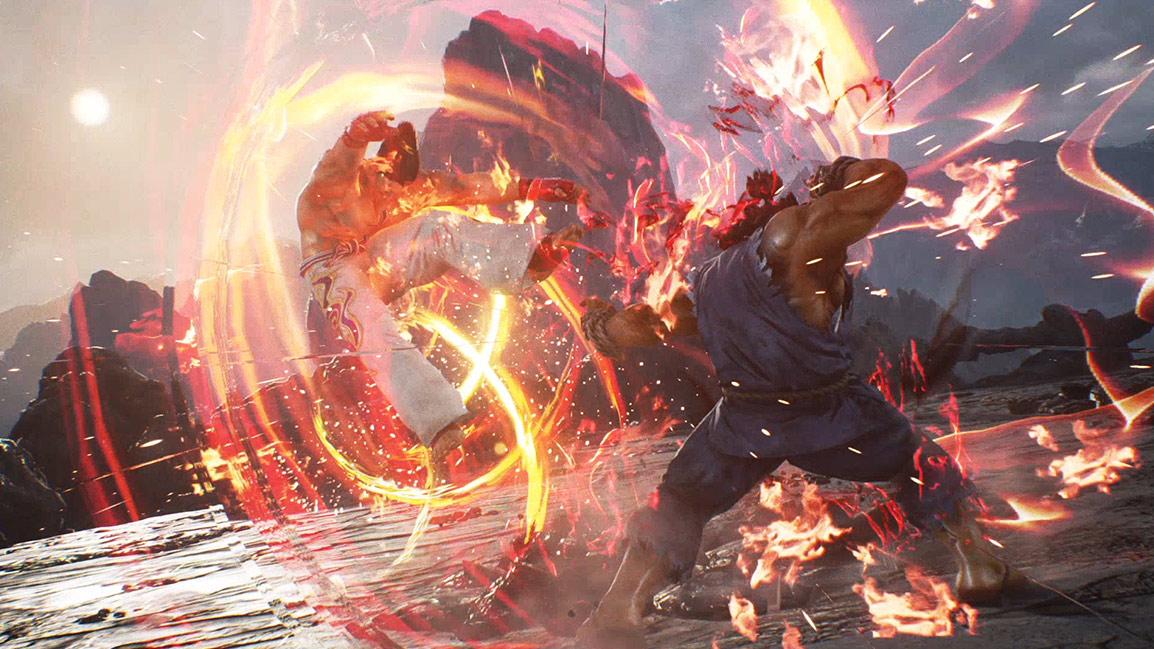 Akuma golpea a Kazuya con una ráfaga