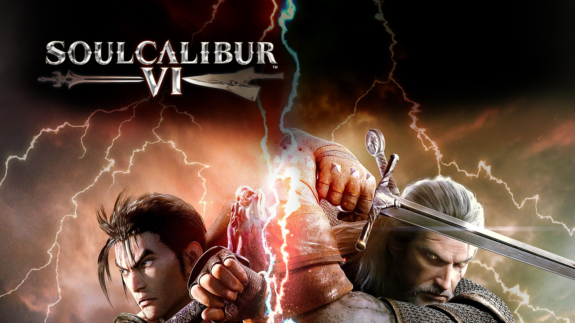 Soul Caliber VI, Heishiro Mitsurugi and Geralt of Rivia back to back with swords drawn.