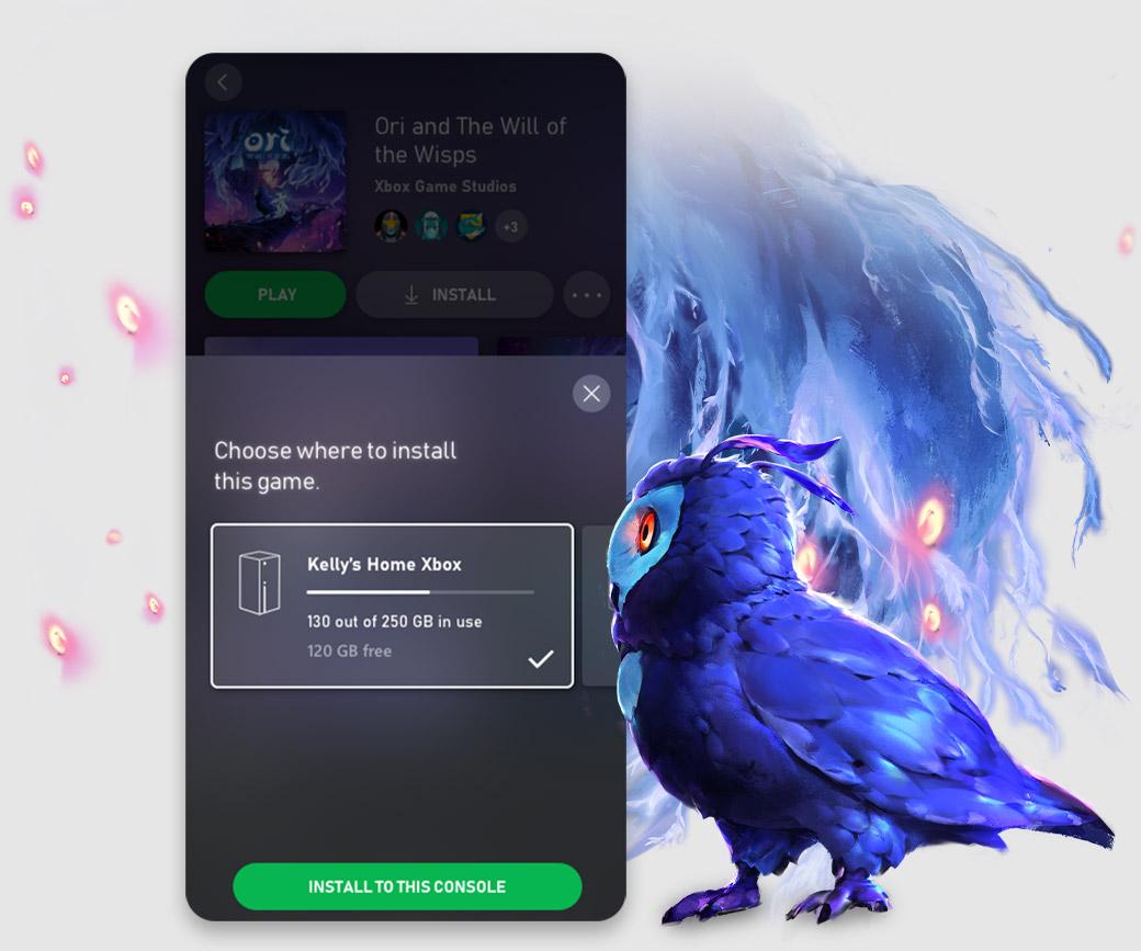 Xbox Game Pass-mobilappens brukergrensesnitt viser muligheten til å laste ned spill på konsollen direkte fra appen
