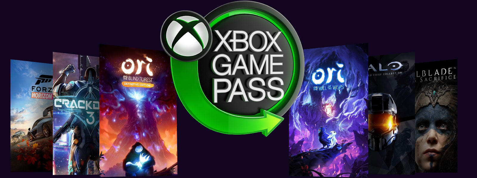 Logo Xbox Game Pass z grafikami z pudełek gier Ori and the Will of the Wisps, Ori and the Blind Forest, Crackdown 3, Halo, Forza Horizon 4 i Hellblade
