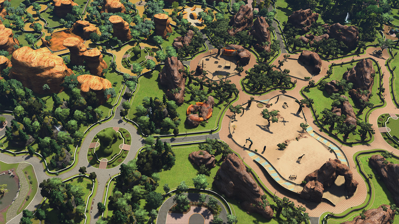 Sky view of in-game zoo