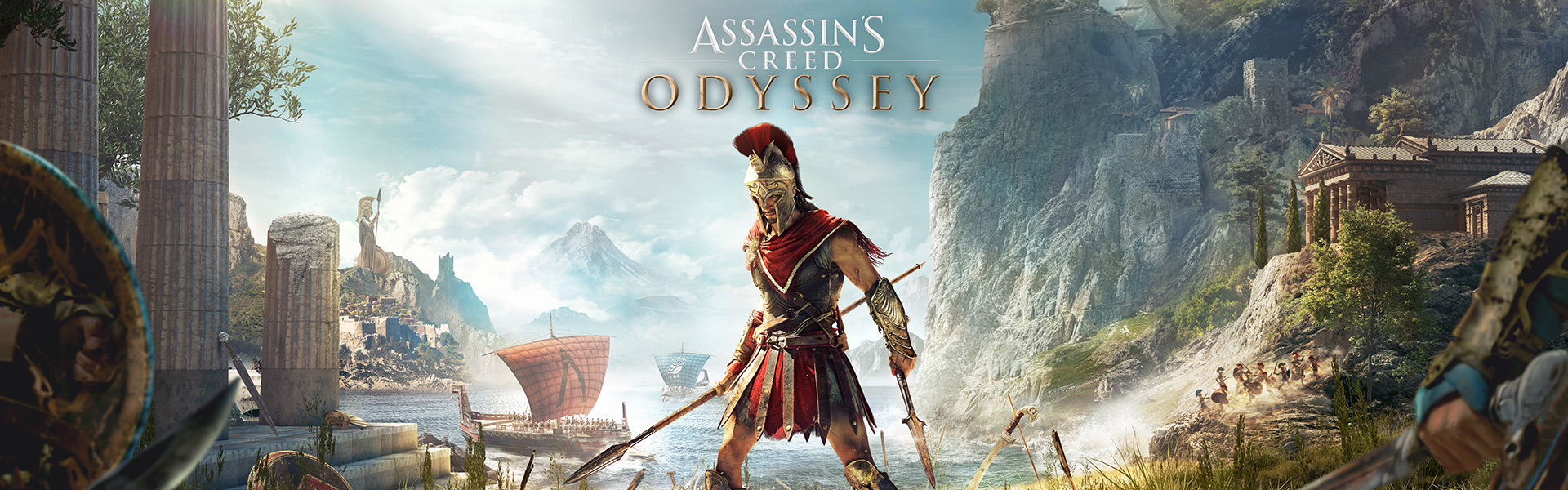 Assassin's Creed Odyssey, Greek hero Alexios stands in fighting pose wielding one spear